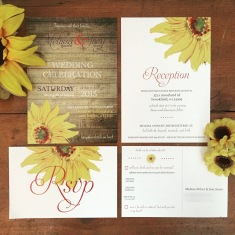 Sunflower Rustic Wedding Invitation