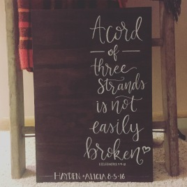 Three Cords Wedding Ceremony Lettering Sign