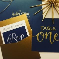 Gold and Navy Wedding Invitation - Pocket Style
