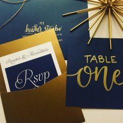 Gold and Navy Wedding Invitation - Pocket Style