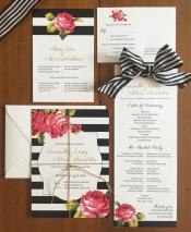 Black and White Striped Wedding Invitation Set