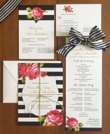Black and White Striped Wedding Invitation Set